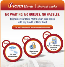 ICICI Bank Delhi Metro Smart Card